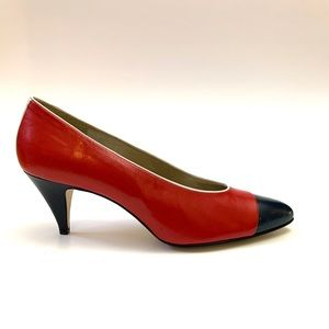 Vintage 1980s red and blue leather workwear pumps